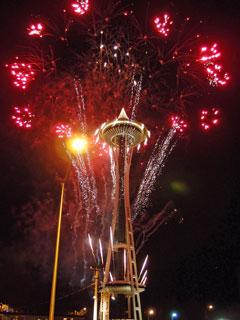 Space Needle の花火の画像